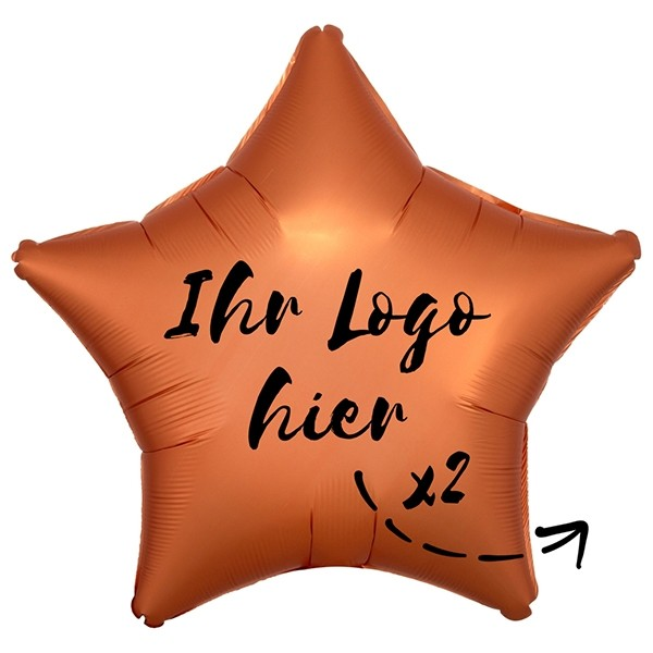 """Folien-Werbeballon Stern Satin Luxe Amber 50cm/20"""" 2-Seitig bedruckt"""