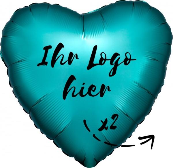 "Folien-Werbeballon Herz Satin Luxe Jade 45cm/18"" 2-Seitig bedruckt"