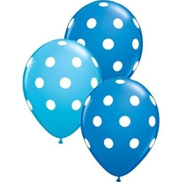 "Qualatex Latexballon Big Polka Dots-Blau 28cm/11"" 25 Stück"