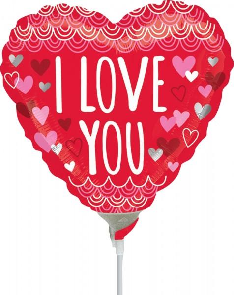 "Anagram Folienballon ""I Love You Sketchy Scallops"" 23cm/9"" luftgefüllt inkl. Stab"