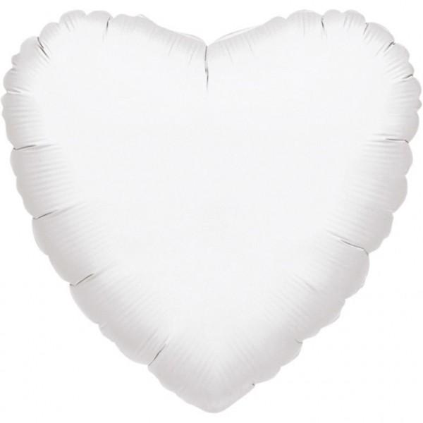 """Anagram Folienballon Herz Metallic White 80cm/32"""""""