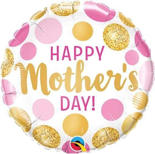 Qualatex Folienballon Happy Mother's Day Pink & Gold Dots 23cm/9""