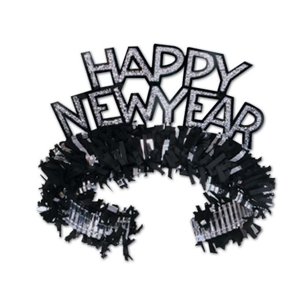 """Beistel """"Happy New Year"""" Tiara Schwarz & Silber"""