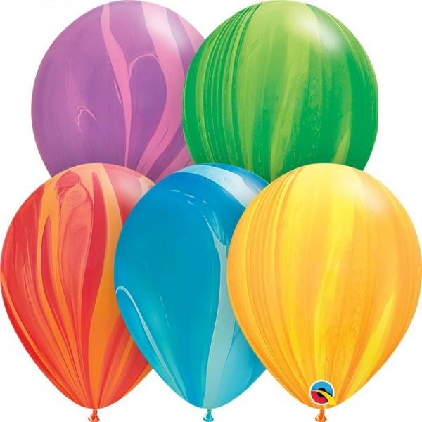 "Qualatex Latexballon Rainbow SuperAgate Assortment 28cm/11"" 100 Stück"