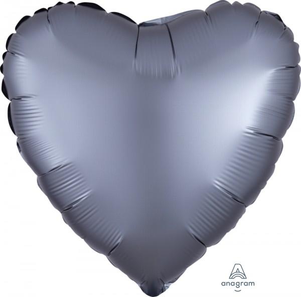 Anagram Folienballon Herz 45cm Durchmesser Satin Luxe Grau (Graphite)