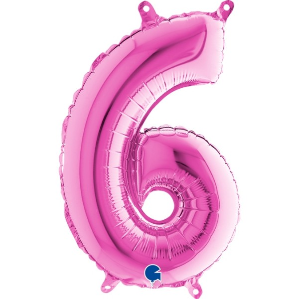 "Grabo Folienballon Zahl 6 Fuxia 36cm/14"""