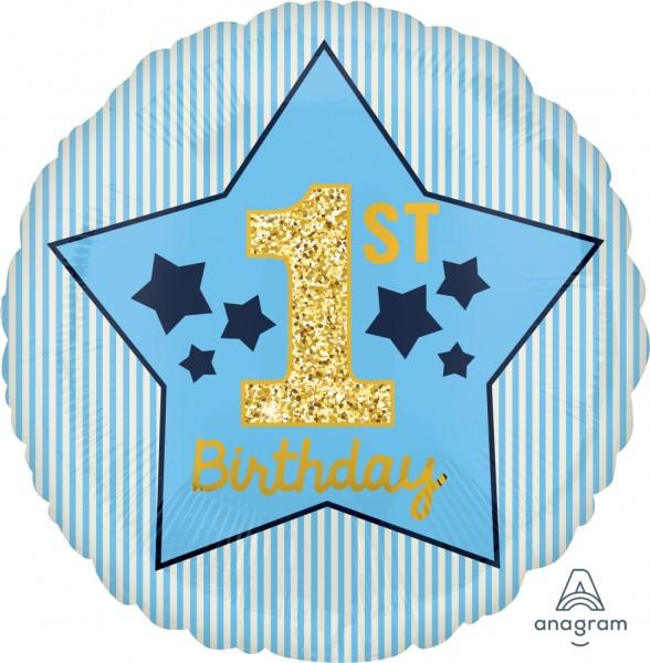 "Anagram Folienballon Boy ""1st Birthday"" Blue & Gold 45cm/18"""