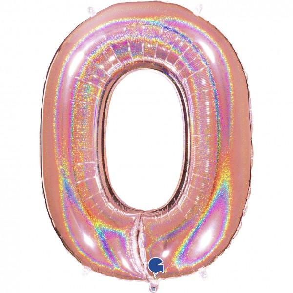 """Grabo Folienballon Zahl 0 Glitter Holographic Rose 100cm/40"""""""