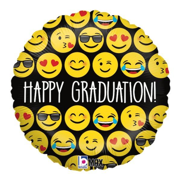 "Betallic Folienballon Emoji Graduation 45cm/18"""