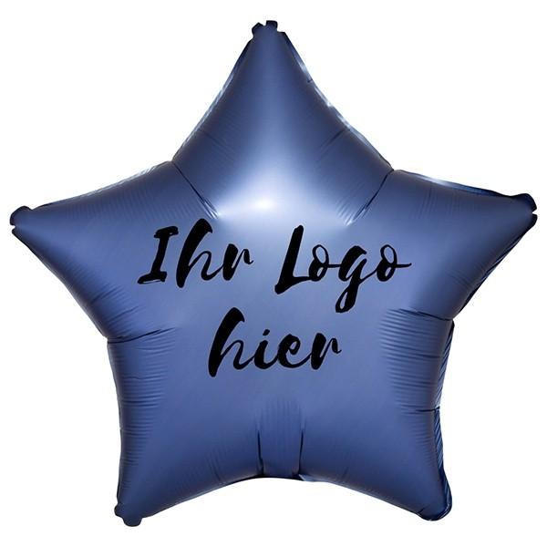 """Folien-Werbeballon Stern Satin Luxe Azure 50cm/20"""" 1-Seitig bedruckt"""