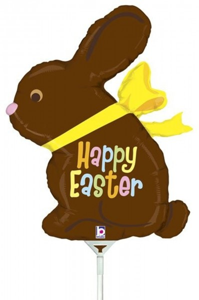 "Betallic Folienballon Chocolate Easter Bunny Mini 35cm/14"" luftgefüllt inkl. Stab"