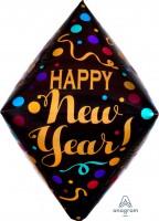 "Anagram Folienballon Anglez 40cm/16"" ""Happy New Year!"" Satinpunkte (Satin Dots)"