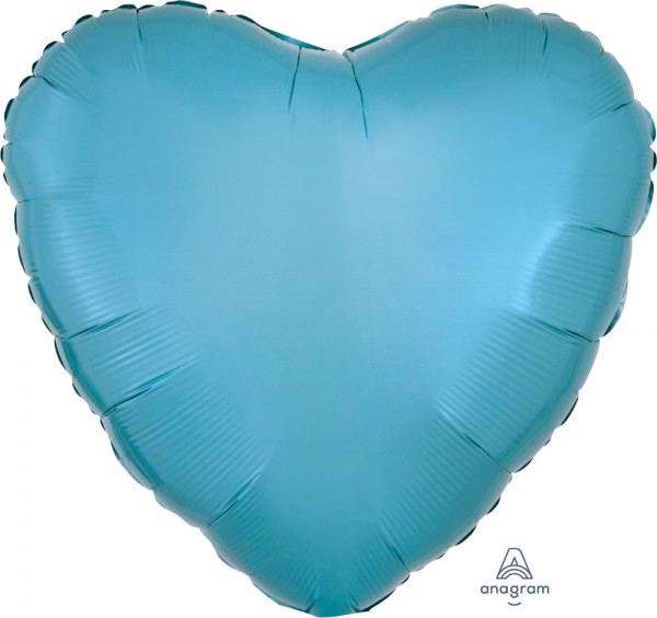 Anagram Folienballon Herz Metallic Caribbean Blue 45cm/18""