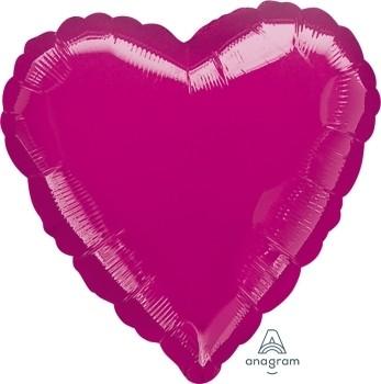 Anagram Folienballon Herz 45cm Durchmesser Metallic Magenta (Metallic Fuchsia)