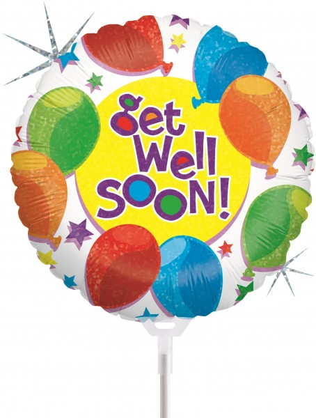 "Betallic Folienballon Balloons & Stars Get Well Holographic 23cm/9"" luftgefüllt inkl. Stab"