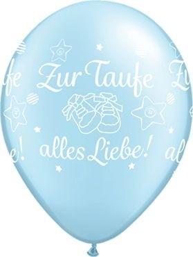 """Qualatex Latexballon Zur Taufe alles Liebe! Light Blue 28cm/11"""" 25 Stück"""