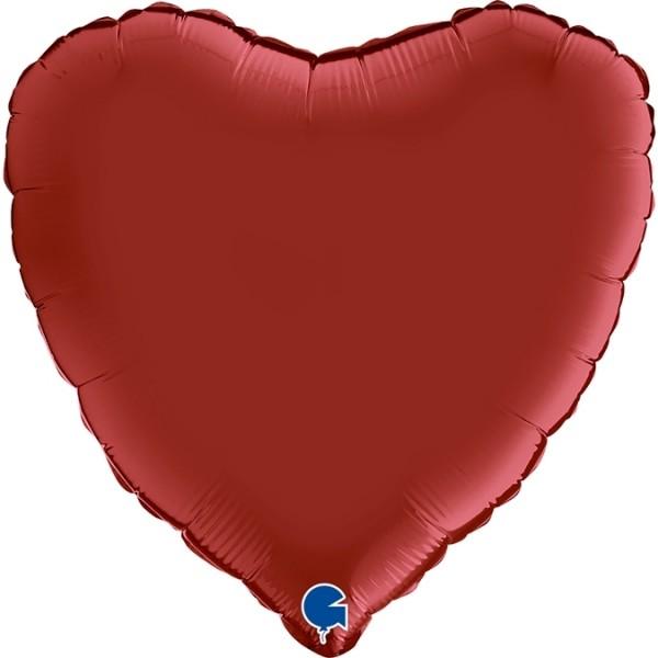 "Grabo Folienballon Heart Satin Rubin Red 46cm/18"""