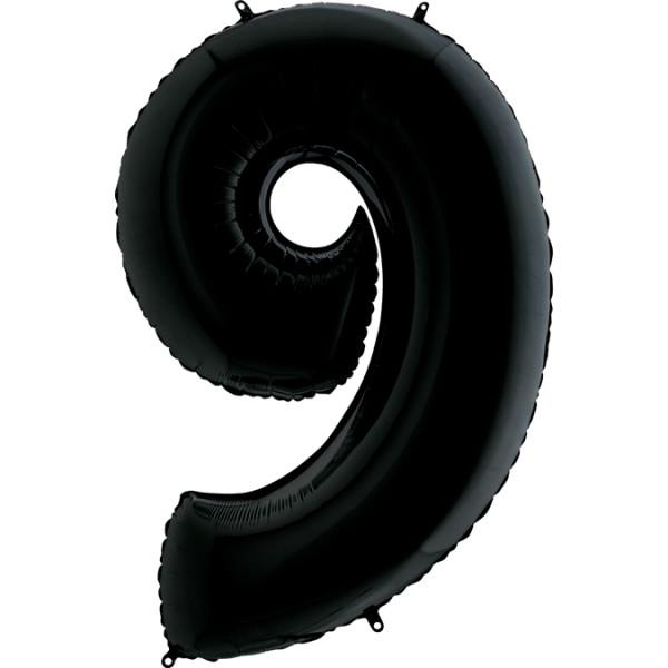 "Grabo Folienballon Zahl 9 Black 100cm/40"""