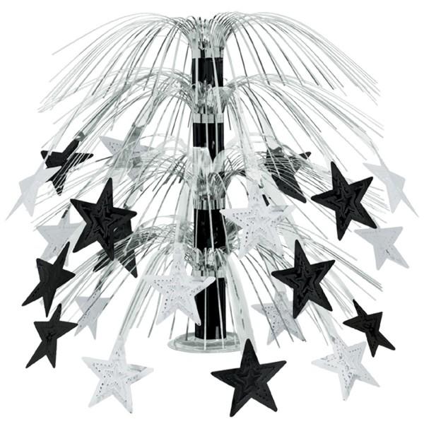 Beistle Sternen-Kaskade Centerpiece Schwarz & Silber