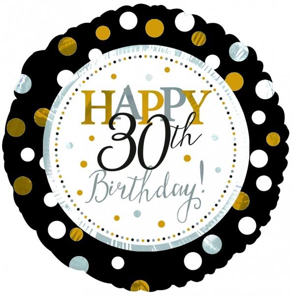 "CTI Folienballon 18"" Happy 30th Birthday Schwarz & Gold"