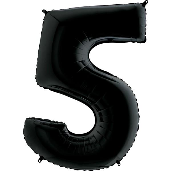 "Grabo Folienballon Zahl 5 Black 100cm/40"""