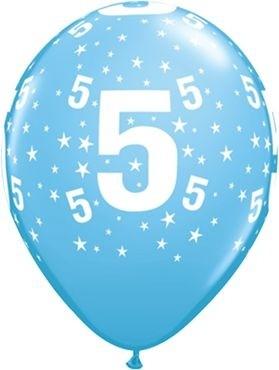 "Qualatex Latexballon Age 5 Stars Blau 28cm/11"" 6 Stück"