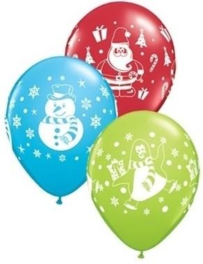 "Qualatex Latexballon Snowmen, Penguins, Santa Sortiment 28cm/11"" 6 Stück"