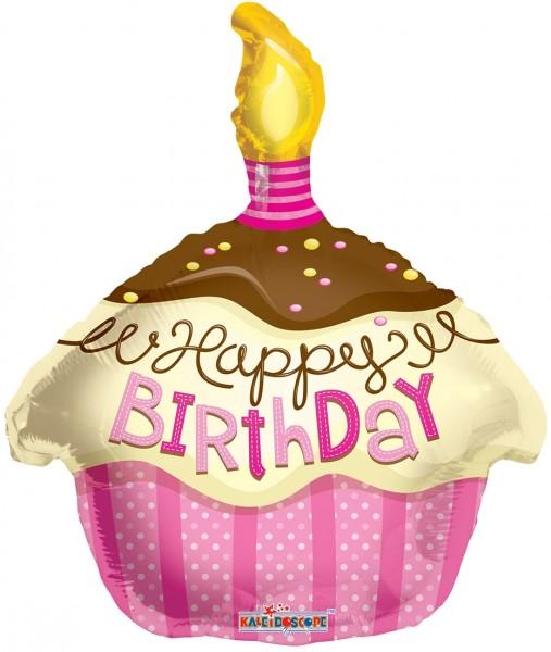 "Kaleidoscope Folienballon Happy Cupcake Pink 45cm/18"""