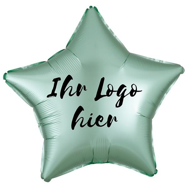 """Folien-Werbeballon Stern Satin Luxe Mint Green 50cm/20"""" 1-Seitig bedruckt"""