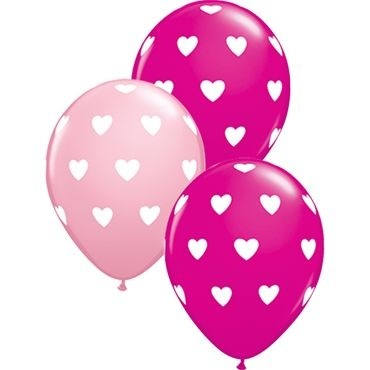 "Qualatex Latexballon Big Hearts Assorted Pink & Wild Berry 28cm/11"" 25 Stück"