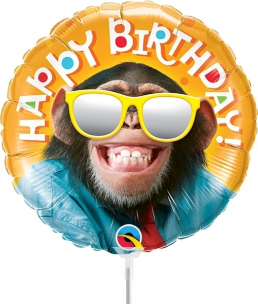 "Qualatex Folienballon Birthday Smilin' Chimp 23cm/9"" luftgefüllt inkl. Stab"