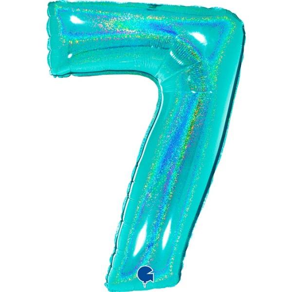 "Grabo Folienballon Zahl 7 Glitter Holographic Tiffany 100cm/40"""