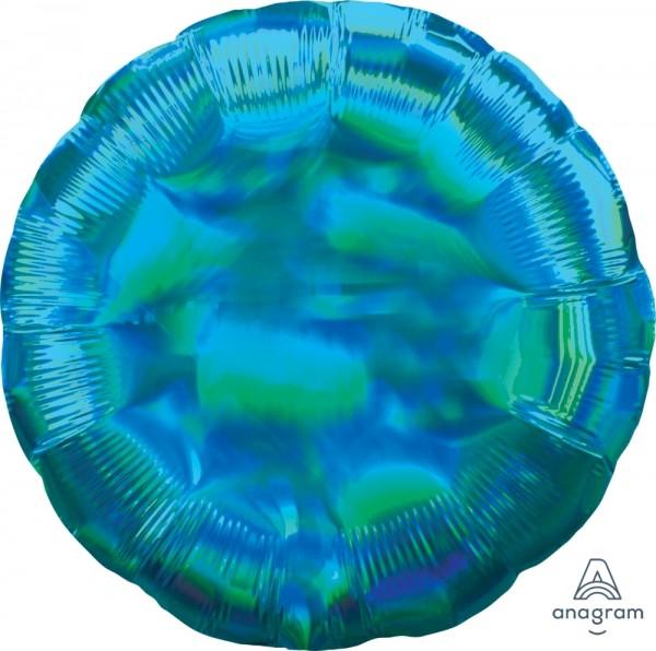 Anagram Folienballon Rund 45cm Durchmesser Iridescent Türkis (Cyan) Holo