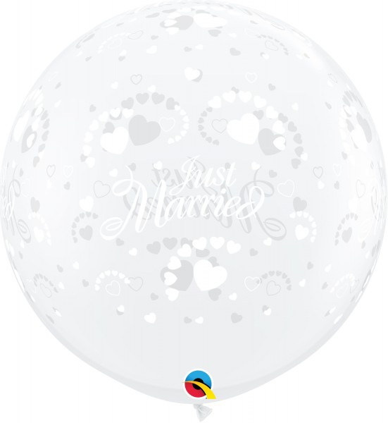 Qualatex Latexballon Just Married Hearts-A-Round Diamond Clear 90cm/3' 2 Stück