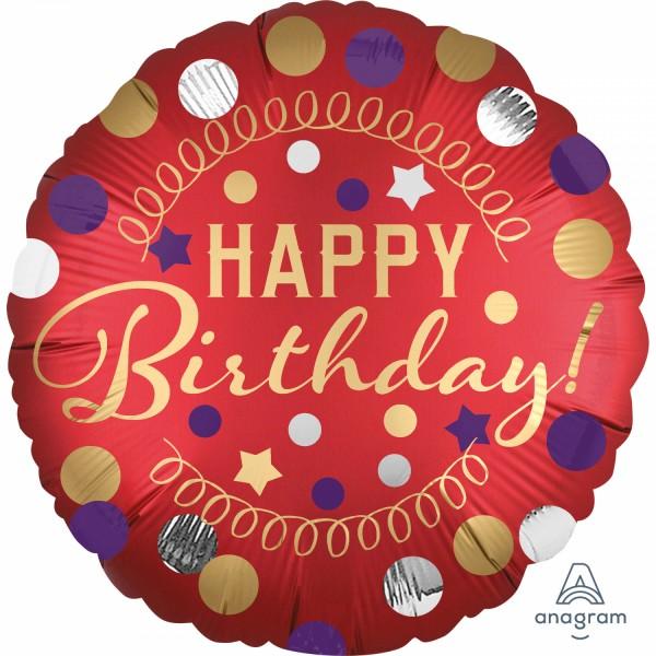 """Anagram Folienballon """"Happy Birthday Tou You"""" Satin Red 45cm/18"""""""