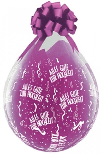 """Qualatex Verpackungsballon Alles Gute zur Hochzeit Diamond Clear 45cm/18"""" 25 Stück"""