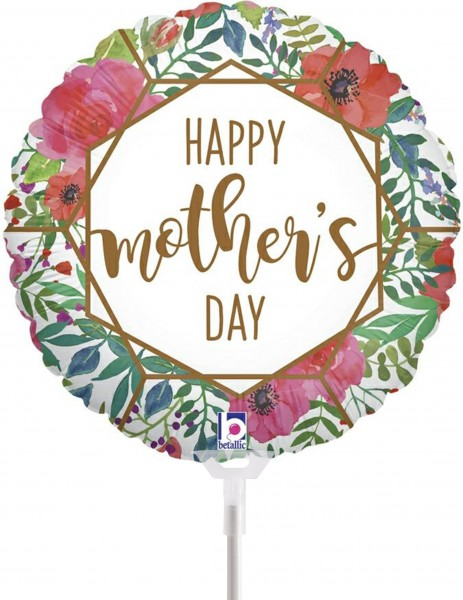 "Betallic Folienballon Mother's Day Terrarium 23cm/9"" luftgefüllt inkl. Stab"