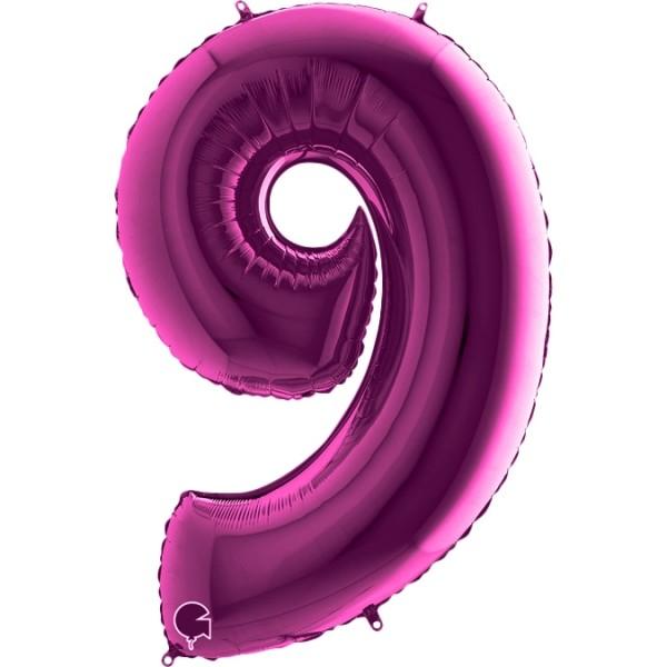"Grabo Folienballon Zahl 9 Purple 100cm/40"""