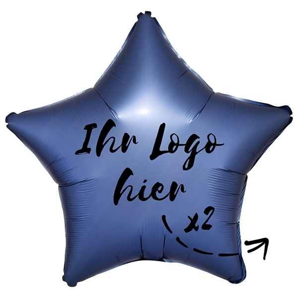 """Folien-Werbeballon Stern Satin Luxe Azure 50cm/20"""" 2-Seitig bedruckt"""