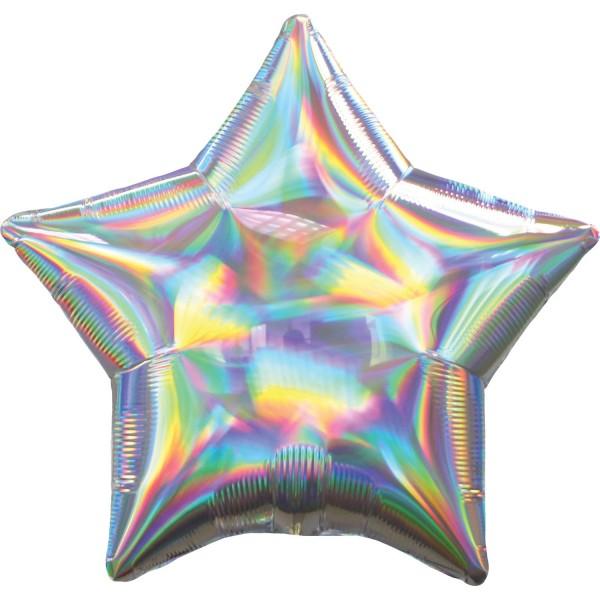 "Anagram Folienballon Stern Iridescent Silver Holo 50cm/20"""