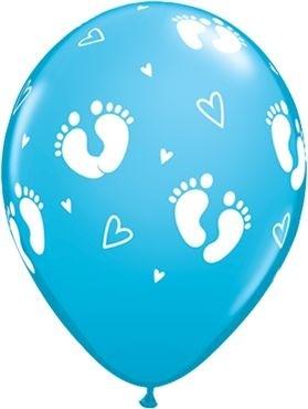 "Qualatex Latexballon Baby Footprints & Hearts Robin's Egg Blue 28cm/11"" 25 Stück"