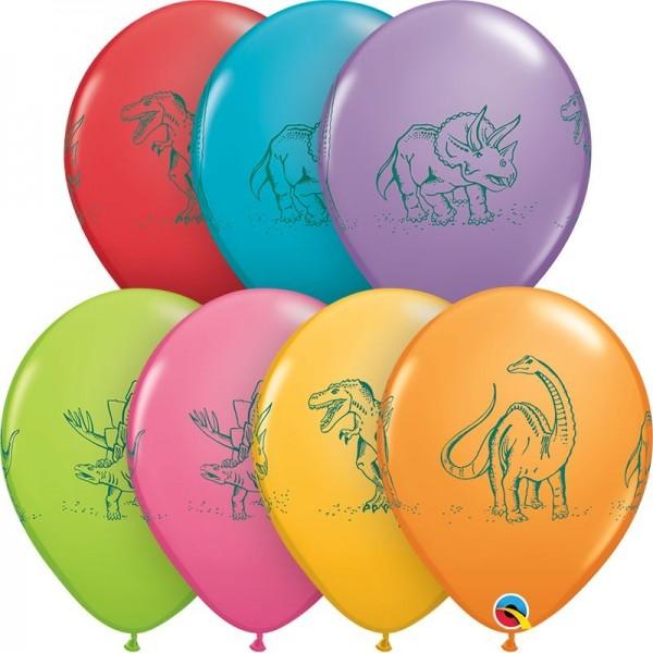"Qualatex Latexballon Dinosaurs in Action Assorted 28cm/11"" 50 Stück"