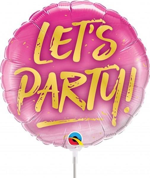 "Qualatex Folienballon Let's Party! 23cm/9"" luftgefüllt inkl. Stab"