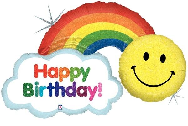 "Betallic Folienballon Happy Birthday Rainbow Holo 114cm/45"""