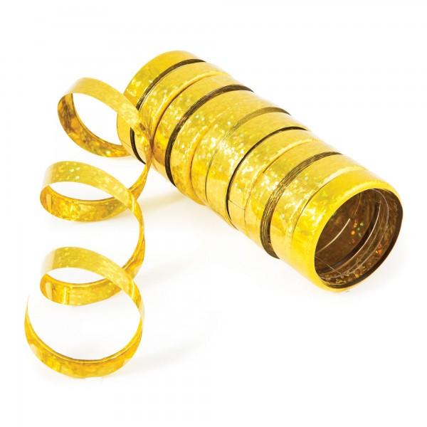 Creative Holo-Folienluftschlangen Gold 10er Röllchen