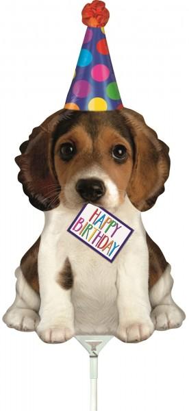 "Betallic Folienballon Birthday Puppy Mini 35cm/14"" luftgefüllt inkl. Stab"