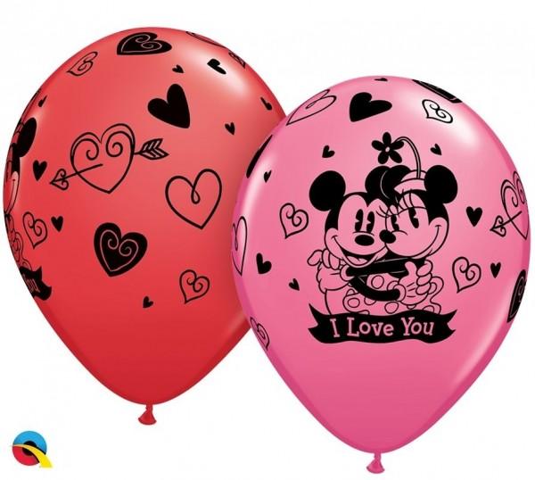 """Qualatex Latexballon Mickey & Minni I Love You Assortement 28cm/11"""" 25 Stück"""