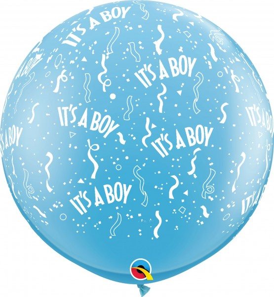 "Qualatex Latexballon Standard It's A Boy Pale Blue 90cm/36"" 2 Stück"