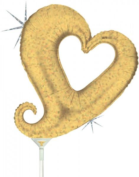"Grabo Folienballon Chain of Hearts Gold Holographic Mini 35cm/14"" luftgefüllt inkl. Stab"
