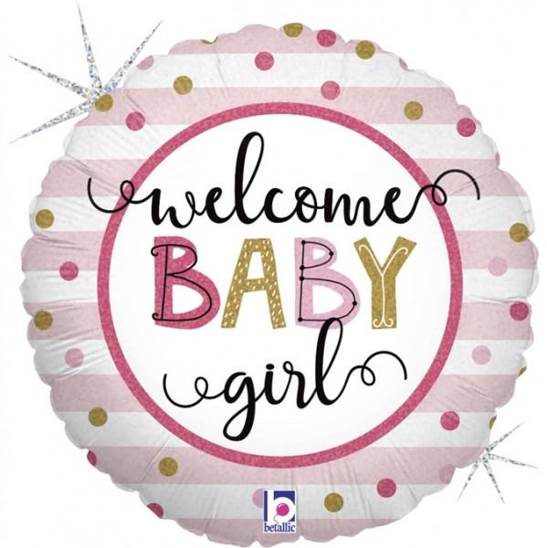 "Betallic Folienballon Baby Girl Stipes 46cm/18"""